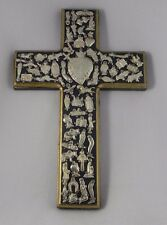 Milagros Cross Hand Painted Wood Mexico Folk Art Black Gold Heart Center