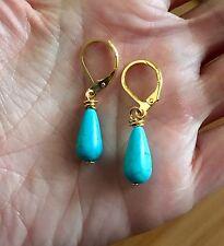 Handmade Turquoise Gold Tear Drop Earrings Blue Dangle Earrings