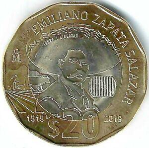 2019 MEXICO 20 Pesos 100 Anniversary ZAPATA Bimetallic BU Coin!