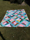 REALLY OLD VINTAGE HAND MADE BEAUTIFUL DOUBLE FACED - HEAVY PATCH WORK QUILT
