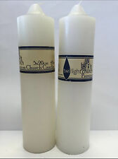2x Premium Church Candles White Unscented Pillar Candles 5*20cm 48Hrs Burn Bulk