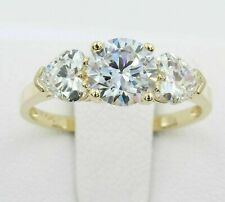 2.00Ct Round Moissanite With Heart 3 Stone Engagement Ring Solid 14k Yellow Gold
