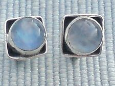 STERLING SILVER 7mm.SQUARE STUD EARRINGSwith MOONSTONE CABOCHON STONES £10.50NWT