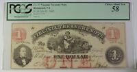 1862 Cr. 17 Virginia Treasury Note $1 Richmond VA PCGS Ch About New 58 Civil War