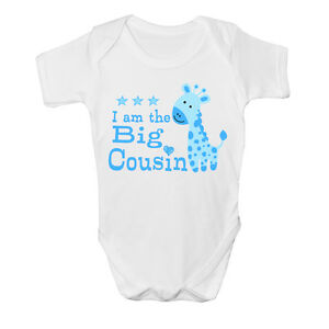 I am the Big cousin Baby Vest cute grow Funny bodysuit New Gift Idea Boys Design