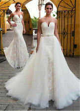 c033New Mermaid Wedding Dress Lace Tulle Bridal Gown Custom Size 6 8 10 12 14 16