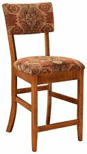 "Modern 24"" Stationary Counter Height Bar Stool Upholstered Set-3 Amish Kingsley"