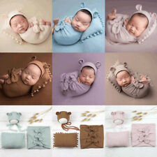Newborn Photography Props Baby Swaddling Wrap Blanket Clothing Hat Pillow Set
