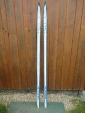 """Very Interesting Vintage Wooden 75"""" Long Skis BLUE  and WHITE Finish"""
