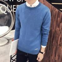 Jumper Pullover Knit Shirt Tops Knitted T-Shirt Casual Mens Knitwear Slim