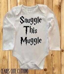 HARRY POTTER SNUGGLE THIS MUGGLE BABY VEST/ GROW  BODYSUIT ROMPER