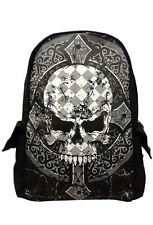 Banned Men's Skull Backpack Rucksack Check Gothic Punk School Bag Waterproof