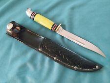 """Western Boulder L48A Yellow Handle  8"""" Fixed Blade Knife w/acorn sheath"""