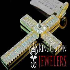 Real Yellow Gold On Sterling Silver Simu Diamond Jesus Cross Pendant Charm 2''