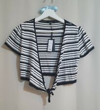 NWT LINEA Ladies Petite Size Small Tie Up Front Black and White Striped Cardigan