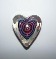 Signed Rollin Karg Art Glass Heart Paperweight 875-3