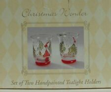 "New Christmas Wonder Set of Two Handpainted Tealight Holders 4"" Tall"