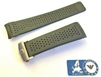 Rubber Strap for Tag Heuer 22 or 24mm Perforated Black Calibre Carrera