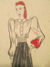 Vtg 30s 40s Fashion Sketch Art Pencil Drawings Signed Dated 1939 Gown Red Hair