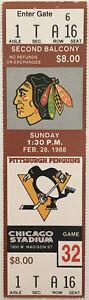 Chicago Blackhawks Pittsburgh Penguins Ticket Stub (Feb 28 1988 Chicago Stadium)