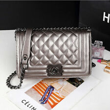 Women Quilted Chain Leather Shoulder Crossbody handbag Messenger  Fashion Bag