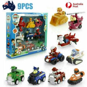9PCS - Paw Patrol Dog Marshall Rubble Rocky Racer Car Chase Skye Kids Toys AU