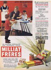 PUBLICITE ADVERTISING 115  1960  MILLIAT FRERES   sauces & SPAGHETTIS DINER