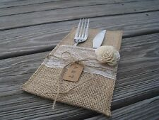 Wedding Table Decoration Fork Knife Burlap Set Of 10 Holder Cutlery