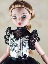 "handmade doll clothes for ellowyne wilde 16"" black floral vintage short dress"