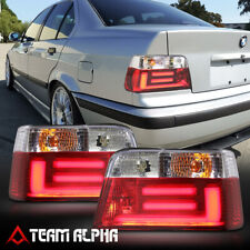 Fits 1992-1998 BMW E36 3-Series 4Dr<NEON TUBE LED BAR>Red/Clear Tail Light Lamp