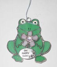Stained Glass Frog Sun Catcher Ganz Rhinestone Flower Oh Happy Day Charm