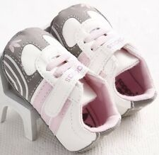 0-6 M Infants Baby Girl Soft Leather Adidas Crib Sneakers Shoes Pre-Walker