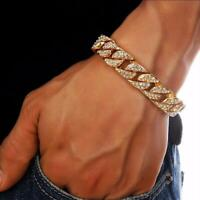 Mens Gold Filled Rhinestones Bracelet Necklace Chain Cuban Link Hip Hop Jewelry