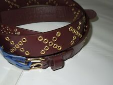 Rebecca Minkoff burgundy Leather grommet accent Belt size SMALL retail $88