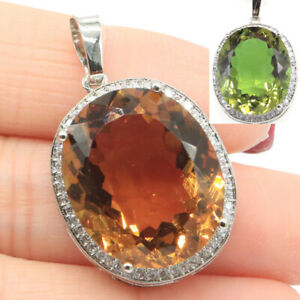 34x21mm Special Big Oval Gemstone Color Changing Spinel CZ Dating Silver Pendant