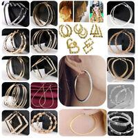 Fashion Design Geometry Gold/Silver Women Round Drop Hoop Stud Earrings Jewelry