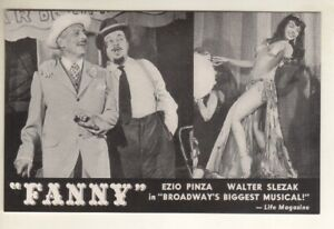 """Fanny""   Postcard   BROADWAY   1954    Ezio Pinza & Walter Slezak"
