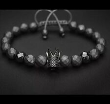 Titanium Steel Crown Bracelet Black Onyx Natural Stone Bead Charm adjustable UK