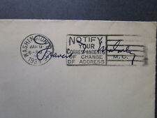 US 1934 Hosue of Rep Francis Maloney Signed / Franked Cover / Side Tears - Z7393