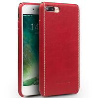Coque Protection Etui Dorsal Rigide en Cuir Véritable iPhone 7 Rouge