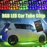 4x 8 Colors LED Strip Under Car Tubes Underglow Underbody System Neon Light Kit