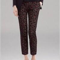 NEW Sandro Women's Black Pink Lace Overlay Slim Cropped Dress Pants Sz 38/ US 8