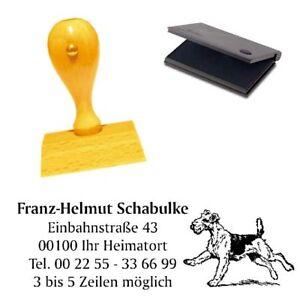 Adressenstempel « AIREDALE TERRIER 1 » mit Kissen - Hundeschule Haustier