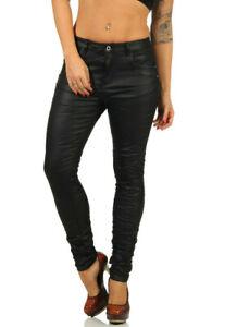 Jewelly Damen Kunstleder Baggy Boyfiend Hose Skinny Crash Lederjeans Jeans XS-XL