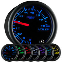 "2 1/16"" GlowShift Black 7 Color Volt Voltage Gauge Meter w. Clear Lens"