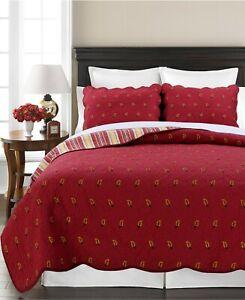Classic Flaming Paisley 100%Cotton 3-Piece Quilt Set, Bedspread, Coverlet