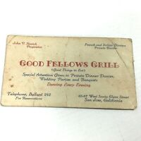 1928 GOOD FELLOWS GRILL vintage restaurant BUSINESS CARD - San Jose CALIFORNIA