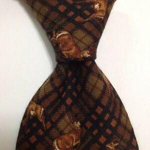 ETRO Men's Wool/Silk Necktie ITALY Luxury DEER PLAID Brown/Green/Black NWT Rare