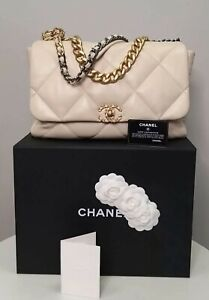 CHANEL 19 Large Flap Bag, White Calfskin, Gold, Silver 100% ORIGINAL
