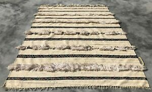 Hand Knotted Vintage Morocco Sumouk Kilim Kilm Wool Area Rug 4 x 3 Ft
